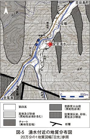 図5 湧水付近の地質分布図