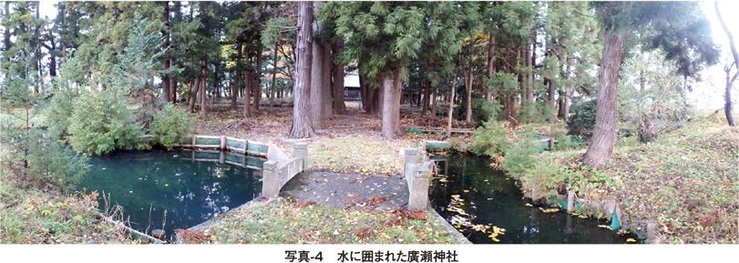 写真4 水に囲まれた廣瀬神社