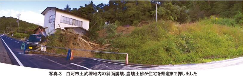 写真3 白河市土武塚地内の斜面崩壊、崩壊土砂が住宅や県道まで押し出した