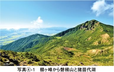 写真4-1 櫛ヶ峰から裏磐梯と猪苗代湖