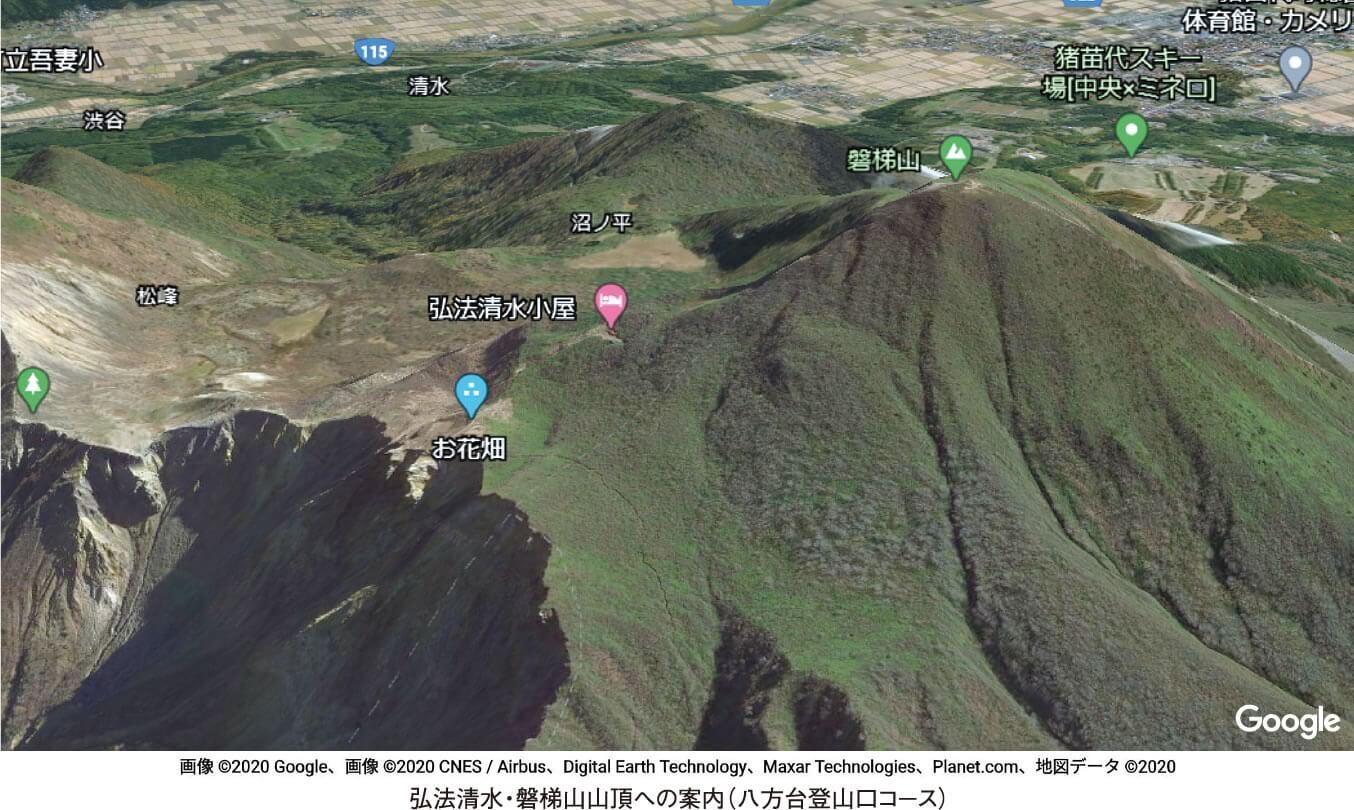 弘法清水・磐梯山山頂への案内(八方台登山口コース)