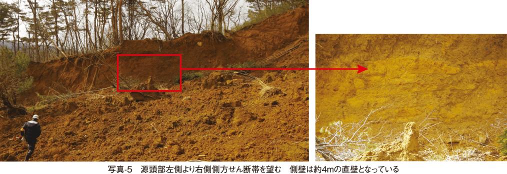 写真-5 源頭部左側より右側側方せん断帯を望む 側壁は約4mの直壁となっている