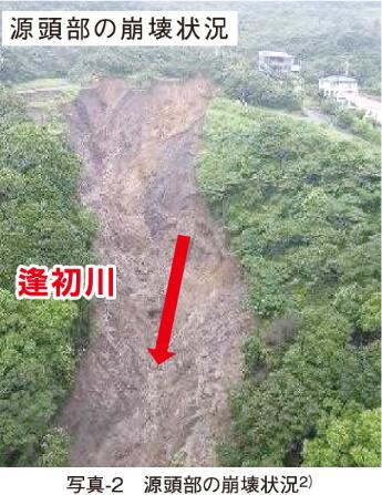 写真-2 源頭部の崩壊状況2)
