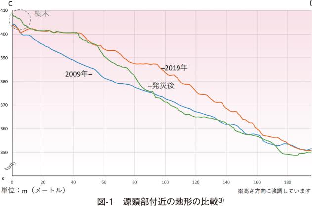 図-1 源頭部付近の地形の比較3)