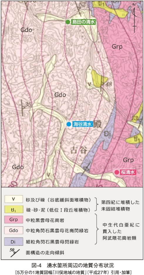 図-4 湧水箇所周辺の地質分布状況 [5万分の1地質図幅「川俣地域の地質」(平成27年) 引用・加筆]
